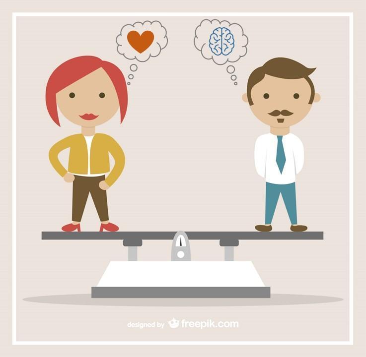 Gefühl vs Fakten - Mann und Frau auf Waage