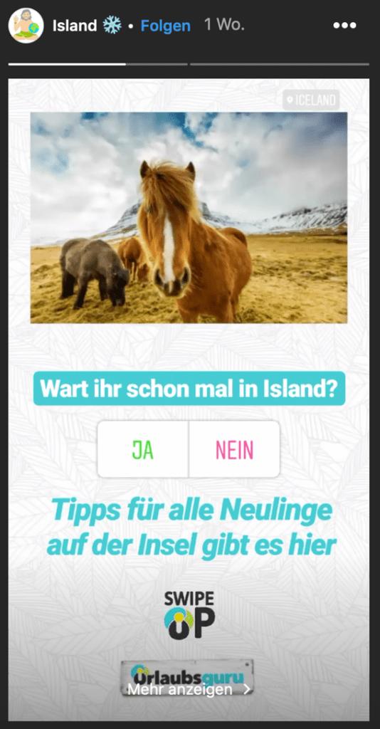 Instagram Story über Island