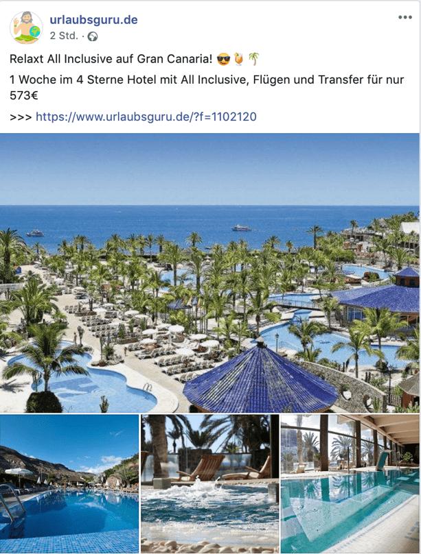 Urlaubsangbot von Urlaubsguru Facebook