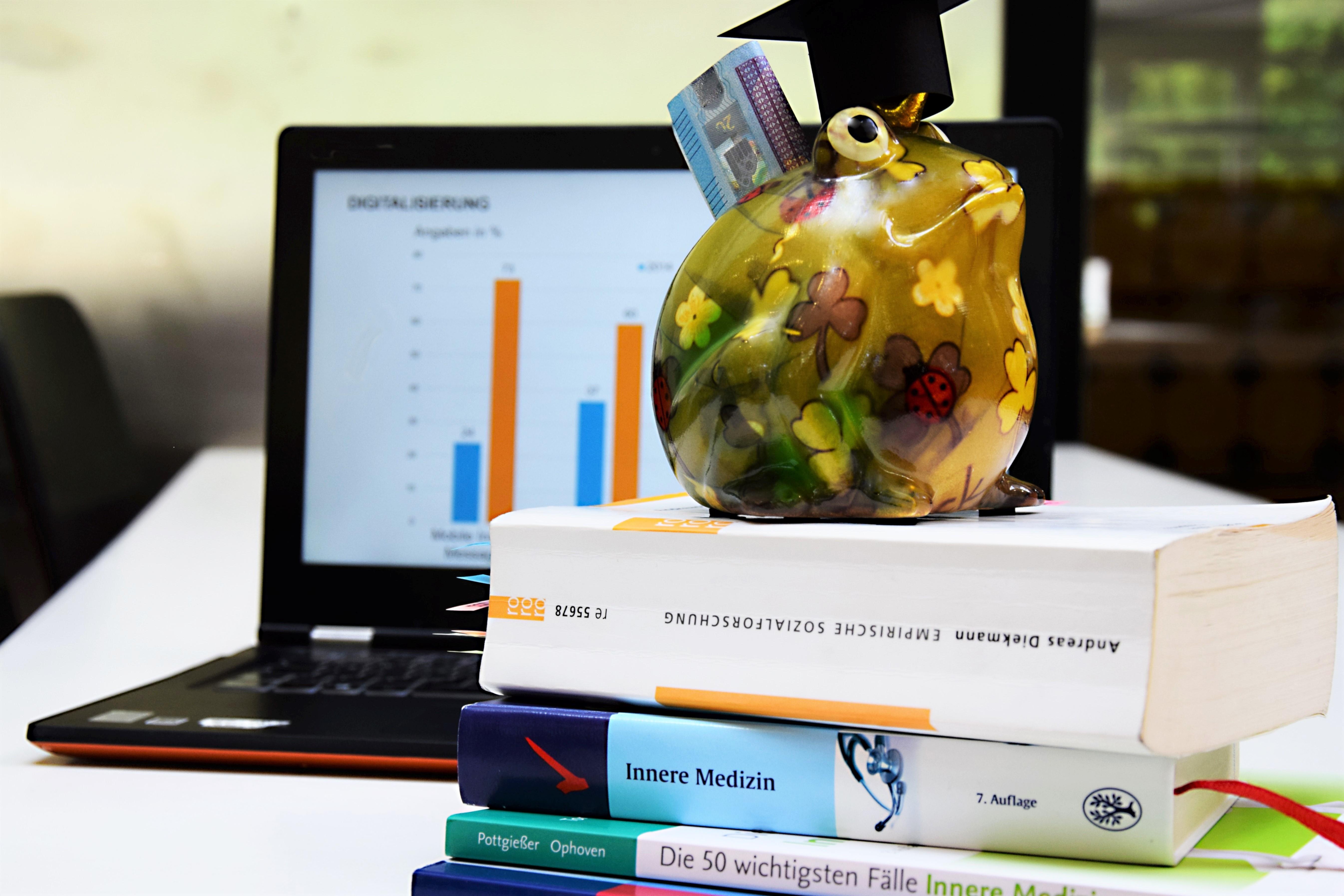 Bücher und ein Sparschwein sind im Vordergrund. Im Hintergund ein Laptop mit einer Statistik zum Thema Digitalisierung.