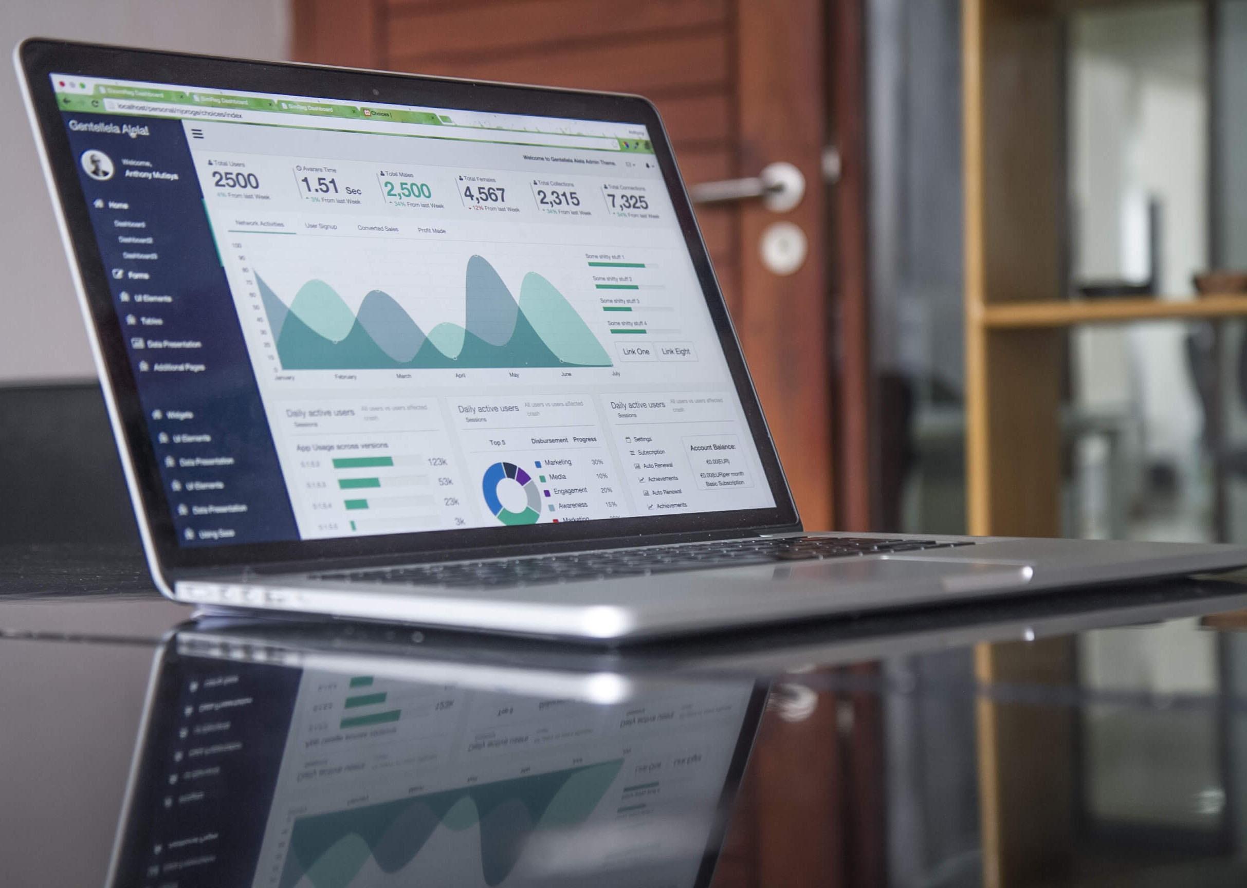Das Bild zeigt einen Laptop, auf dem Diagramme und Statistiken zu sehen sind.